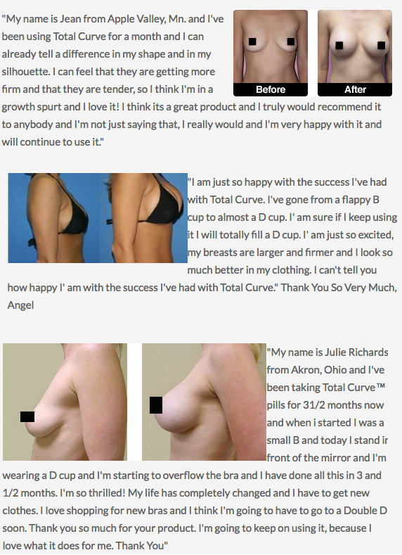 TotalCurve Before and After Customer Testimonials (Pictures)