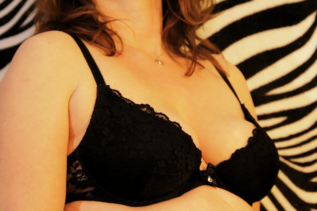 Woman Black Bra Breasts